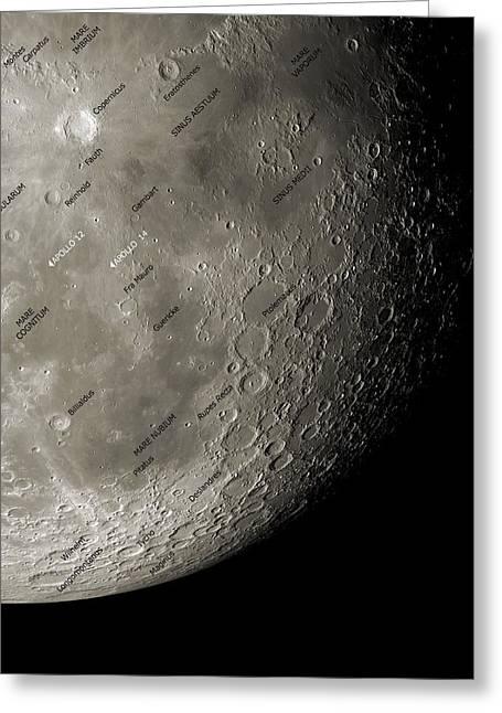 The Moon From Space, Artwork Greeting Card by Detlev Van Ravenswaay