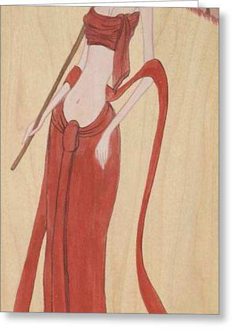 The Thai Traditional Contemporary Drawing Fairy Tale On Wood Greeting Card by Ittipon Kongsua