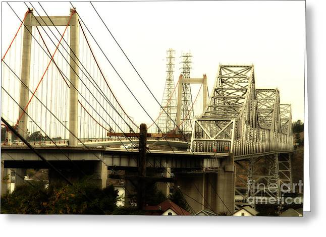 The Two Carquinez Bridges At Crockett And Vallejo California . Aka Alfred Zampa Memorial Bridge . 7d8919 Greeting Card