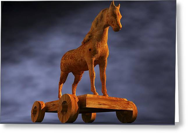 Trojan Horse, Computer Artwork Greeting Card