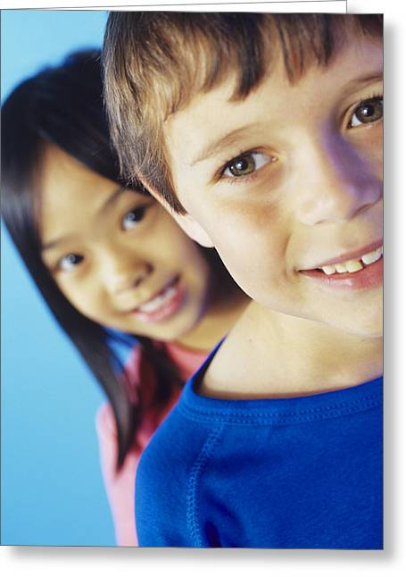 Two Children Greeting Card