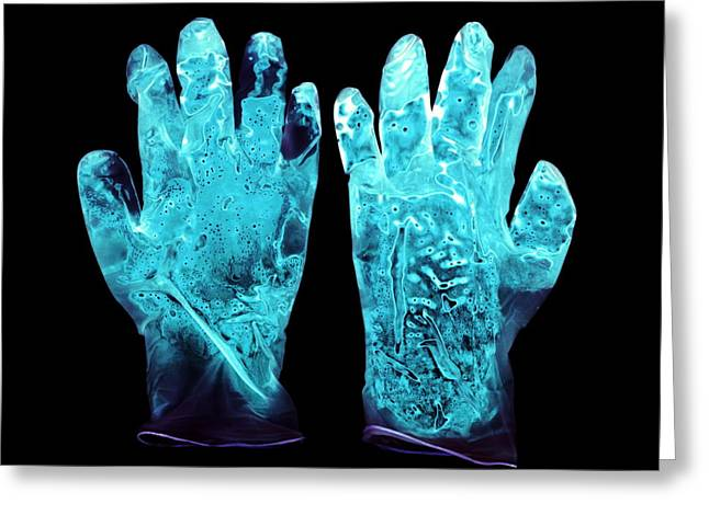 Used Surgical Gloves, Negative Image Greeting Card by Kevin Curtis