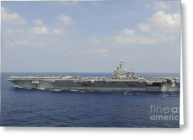 Uss Abraham Lincoln Transits The Indian Greeting Card by Stocktrek Images