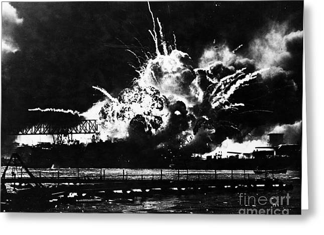 Uss Shaw, Pearl Harbor, December 7, 1941 Greeting Card by Photo Researchers