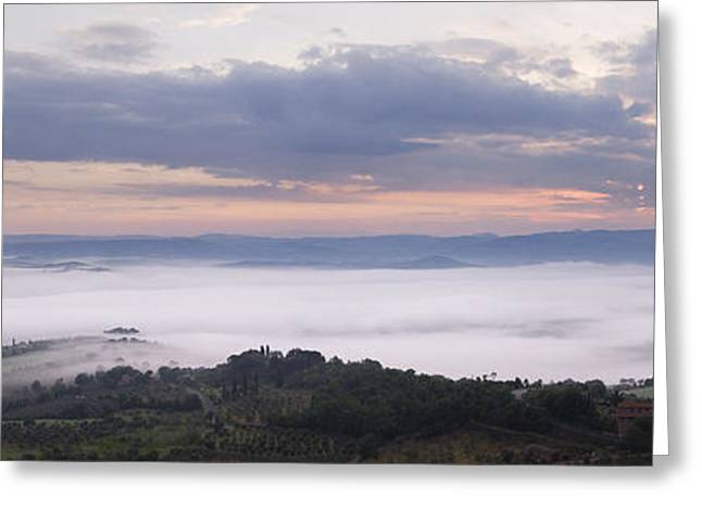 Valley Fog In The Val Dorcia At Dawn Greeting Card by Jeremy Woodhouse
