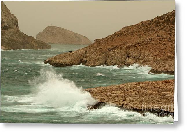 Waves Crashing On The Coast Greeting Card by Sami Sarkis