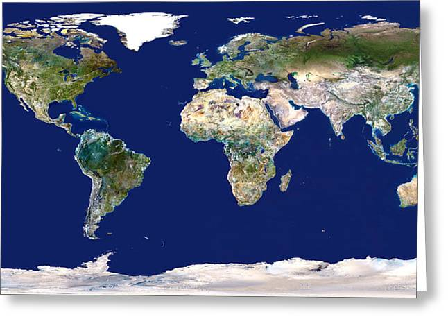 Whole Earth Map Greeting Card by Planetobserver