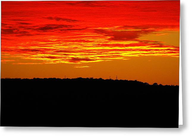 Winter Sunset In Texas Greeting Card by Rebecca Cearley