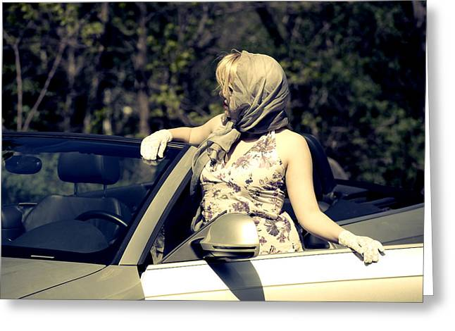 Woman With Convertible Greeting Card by Joana Kruse