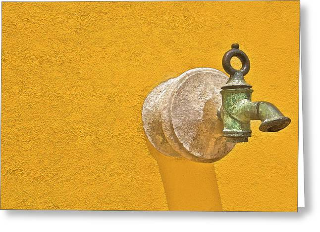Worn Brass Spigot  Of Medieval Europe Greeting Card by David Letts