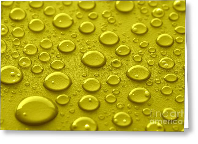 Yellow Water Drops Greeting Card by Blink Images
