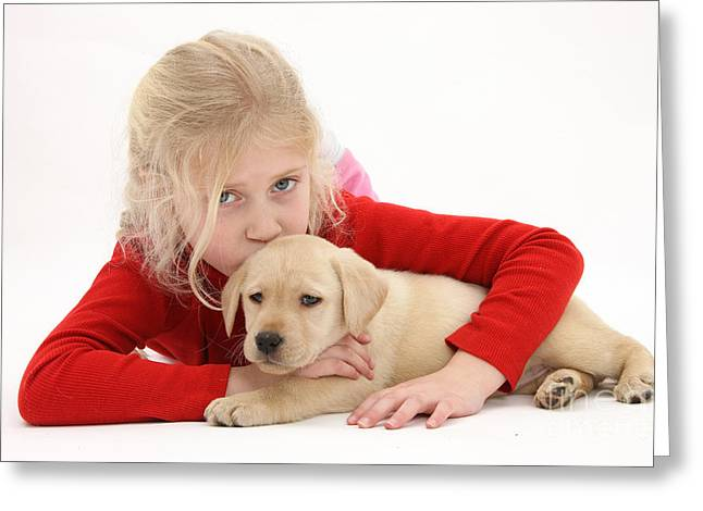 Young Girl With Yellow Labrador Greeting Card by Mark Taylor