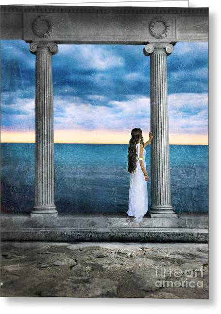 Young Woman As A Classical Woman Of Ancient Egypt Rome Or Greece Greeting Card by Jill Battaglia