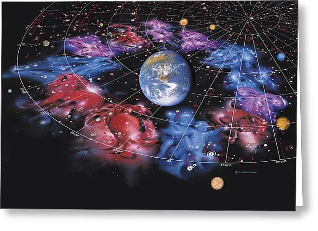 Zodiac Signs Greeting Card by Detlev Van Ravenswaay