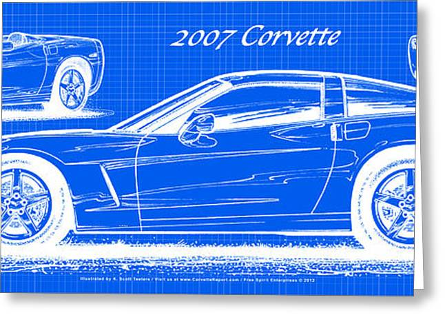 2007 Corvette Blueprint Series Greeting Card