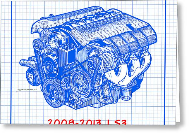 2008-2013 Ls3 Corvette Engine Blueprint Greeting Card