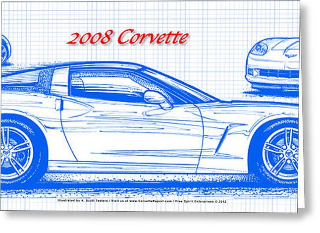 2008 Corvette Blueprint Greeting Card