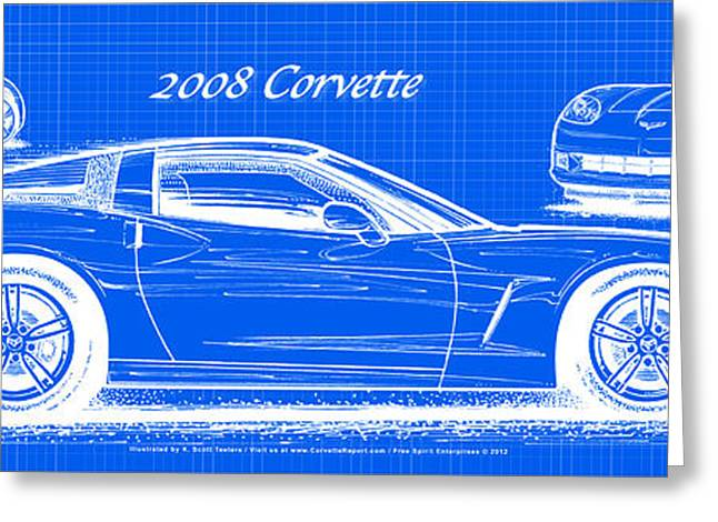 2008 Corvette Reverse Blueprint Greeting Card