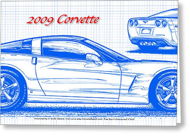 2009 C6 Corvette Blueprint Greeting Card