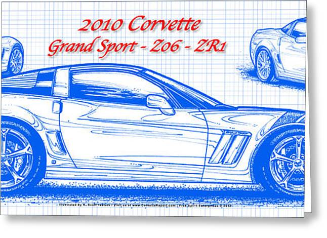 2010 Corvette Grand Sport - Z06 - Zr1 Blueprint Greeting Card