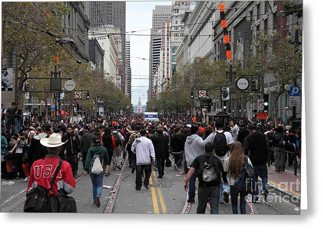 2012 San Francisco Giants World Series Champions Parade Crowd - Dpp0002 Greeting Card by Wingsdomain Art and Photography