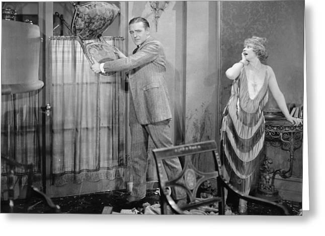 Silent Still: Man & Woman Greeting Card by Granger