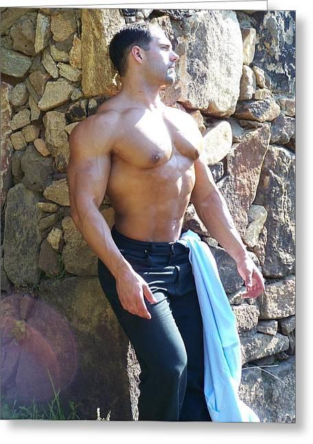 Male Muscle Art Marius Greeting Card by Jake Hartz