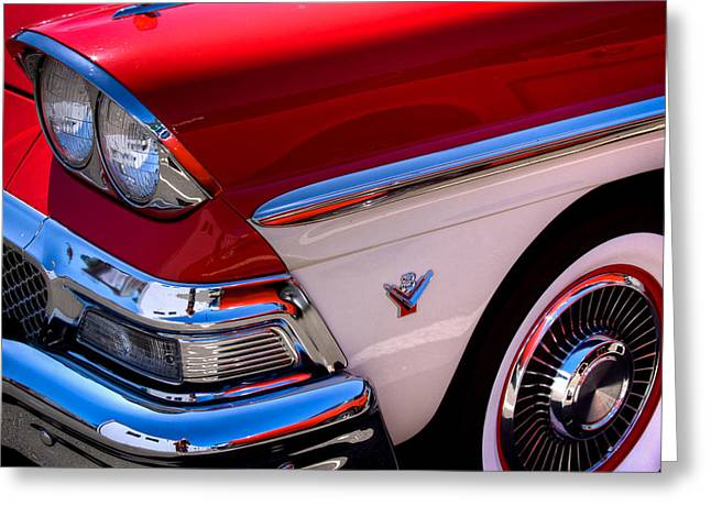 1958 Ford Fairlane Skyliner Convertible Greeting Card by David Patterson