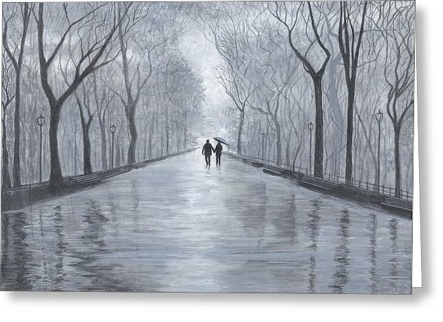 A Walk In The Park In Black And White Greeting Card
