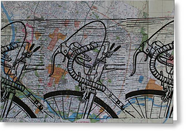 Bike 2 On Map Greeting Card by William Cauthern