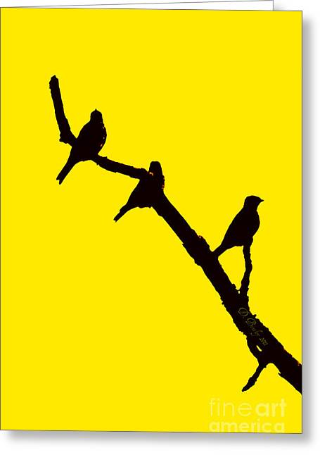 3 Birds On A Limb Greeting Card