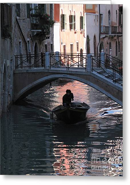 Canal. Venice Greeting Card by Bernard Jaubert