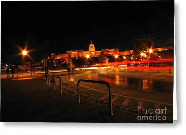 City By Night Greeting Card by Odon Czintos