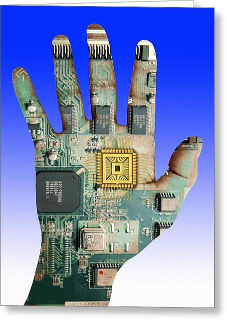 Cybernetics And Robotics Greeting Card by Victor De Schwanberg