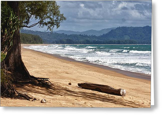 Deserted Beach In Phuket In Thailand Greeting Card by Zoe Ferrie