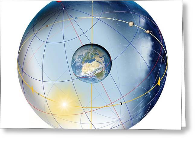 Earth's Rotation, Artwork Greeting Card by Detlev Van Ravenswaay