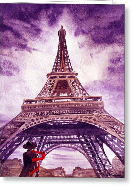 Eiffel Tower Paris Greeting Card by Irina Sztukowski
