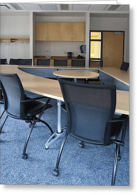Empty Boardroom Or Meeting Room In An Greeting Card by Marlene Ford