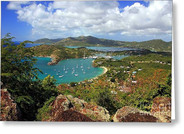 English Harbor Antigua Greeting Card by Sophie Vigneault