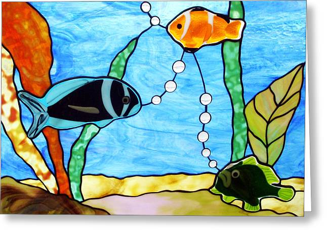 3 Fishes In The Sea Greeting Card by Jane Croteau