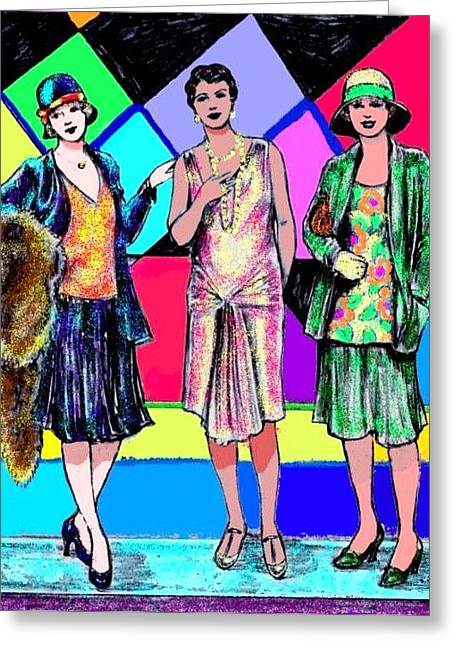 3 Flappers Color Greeting Card by Mel Thompson