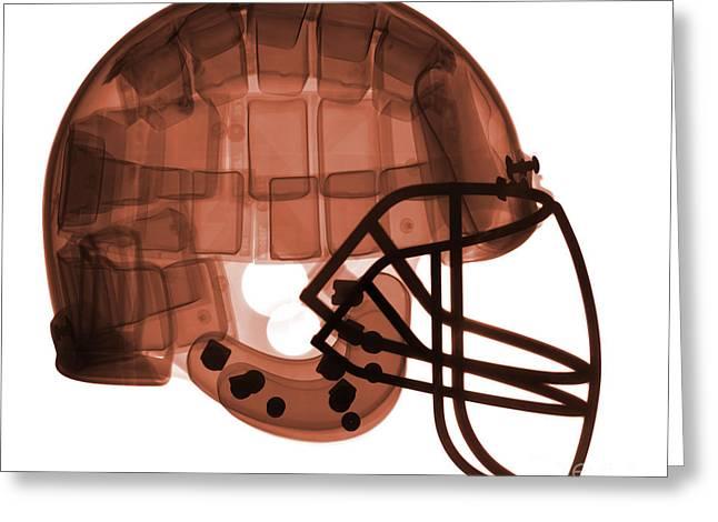 Football Helmet, X-ray Greeting Card by Ted Kinsman