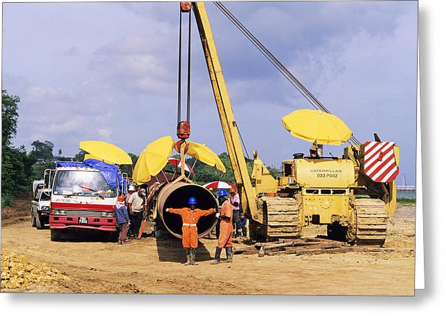 Gas Line Construction Greeting Card by David Nunuk
