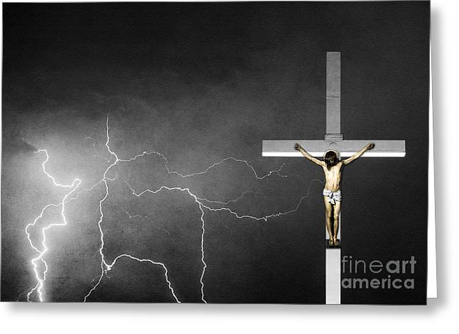 Good Friday - Crucifixion Of Jesus Bw Greeting Card by James BO  Insogna