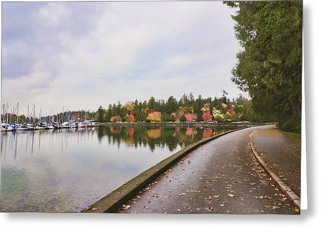 Sailboats In Water Greeting Cards - In Urban Stanley Park The Promenade Greeting Card by Douglas Orton