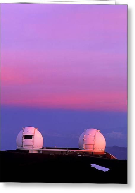 Keck I And II Observatories On Mauna Kea, Hawaii Greeting Card by David Nunuk