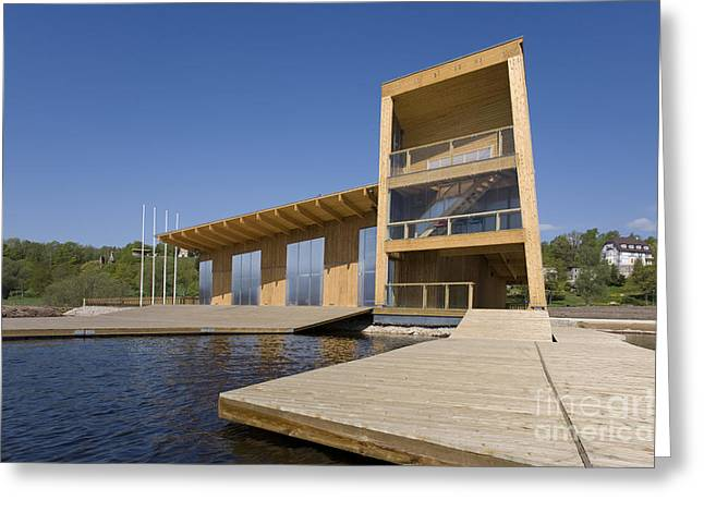 Lakeside Building And Dock Greeting Card