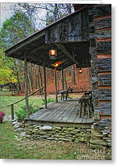 Log Home Renfro Valley Ky Greeting Card by Anne Kitzman