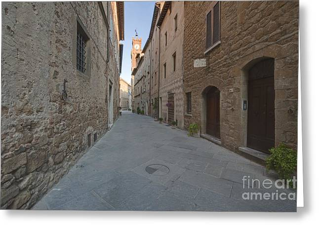 Medieval Street And Clock Tower Greeting Card by Rob Tilley
