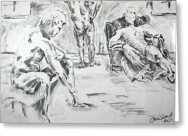 Greeting Card featuring the drawing 3 Men Relaxing by Brian Sereda